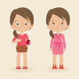 Sleepy and awake women. Two girls/women characters: awake and cheerful with cup of coffee and sleepy or tired. Vector cartoon illustration Stock Photos