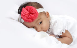 Sleepy baby face portrait Stock Photo
