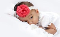 Sleepy baby face portrait Stock Photo