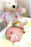 Sleepy baby girl in crib. Portrait of sleepy baby girl with pacifier and teddy bear in crib or cot Royalty Free Stock Images