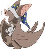 Sleepy bat with teddy bear preparing for bed Stock Image