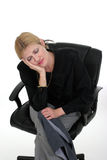 Sleepy Business Woman 6. Attractive business executive woman getting very sleepy while sitting in her desk chair Stock Images