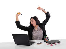 Sleepy businesswoman yawning isolated Stock Photography