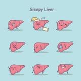 Sleepy cartoon liver set stock illustration