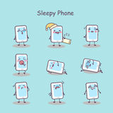 Sleepy cartoon smart phone Royalty Free Stock Photo