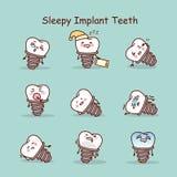 Sleepy cartoon tooth implant set Royalty Free Stock Photography