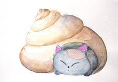 Sleepy cat in the shell watercolor nursery illustration Stock Image