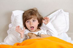 Sleepy child yawn Royalty Free Stock Images