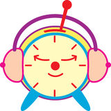 Sleepy clock. A table clock with bell falling half way vector illustration