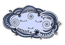 Sleepy cloud doodle illustration Stock Photo