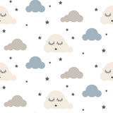 Sleepy clouds seamless vector pattern. Royalty Free Stock Image