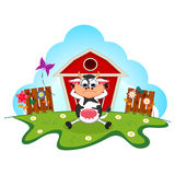 Sleepy cow cartoon in a farm for your design Stock Image