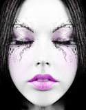 Sleepy doll. Girl's face with creative make-up Stock Image
