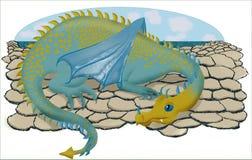Sleepy dragon. Illustration of a dragon on stones by the sea royalty free illustration
