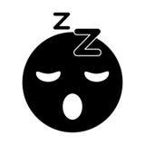 Sleepy emoticon funny pictogram Stock Image