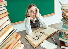 Sleepy exhausted or bored young student. Stock Photography