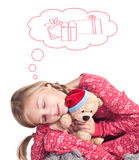 Sleepy girl with teddy bear Royalty Free Stock Photo
