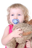Sleepy girl with toy Royalty Free Stock Image