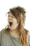 Sleepy girl yawning Royalty Free Stock Image
