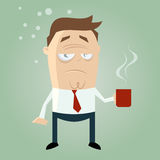 Sleepy guy with cup of coffee stock illustration