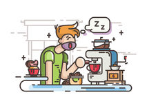 Sleepy guy making coffee. In kitchen in morning. Vector illustration Royalty Free Stock Photography