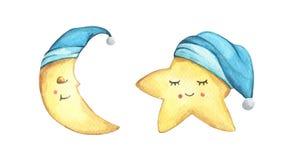 Free Sleepy Half Moon And Little Star In Blue Nightcap. Watercolor Illustration. Stock Photo - 153946930