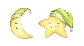 Free Sleepy Half Moon And Little Star In Green Nightcap. Watercolor Illustration. Royalty Free Stock Images - 153946909