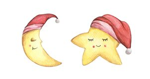 Sleepy half moon and little star in red nightcap. Watercolor illustration. Christmas card.