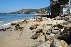 Sleepy Hollow Beach in Laguna Beach, CA. The image shows a beach area known as Sleepy Hollow which is just south of the Main Beach of Laguna Beach, CA seen in Stock Photography