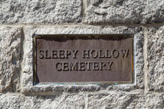 Sleepy Hallow Cemetery. Sign for Sleepy Hollow Cemetery in historic Concord, Massechuettes Stock Photo
