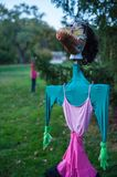 Scary Scarecrows. In Sleepy Hallow, NY the children embrace Halloween by making scary scarecrows placed throughout historic areas of the town Royalty Free Stock Image