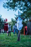 Scary Scarecrows. In Sleepy Hallow, NY the children embrace Halloween by making scary scarecrows placed throughout historic areas of the town Stock Photography