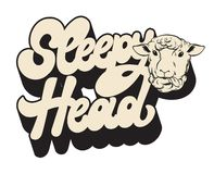 Sleepy head. Vector handwrittem lettering with hand drawn illustration of sheep isolated . stock illustration