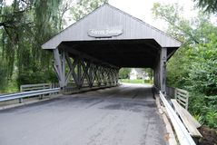 Sleepy Hollow Bridge. Wooden bridge over Ten Mile Creek in Sylvania, Ohio Stock Images