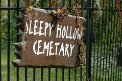 Sleepy Hollow cemetery sign Royalty Free Stock Photo