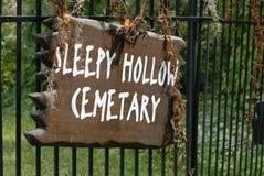 Sleepy Hollow cemetery sign Royalty Free Stock Photo