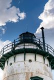 Sleepy Hollow Lighthouse on a beautiful summer`s day, against a blue sky with beautiful white clouds, closeup, Sleepy stock photography