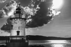 Sleepy Hollow Lighthouse with dramatic clouds in the sky on a beautiful sunny day, in black & white, Sleepy Hollow stock photos