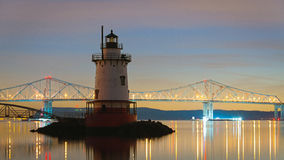 Sleepy Hollow Lighthouse at night. A shot of the lighthouse and bridge in the background at night Stock Photography