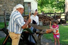 Sleepy Hollow, NY: Guides and Visitor. A little girl at historic Philipse Manor using a double-handled wood saw to cut logs with the help of 18th century Stock Photography