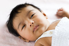 Sleepy Indian Baby Stock Image