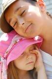 Sleepy kids outdoor Royalty Free Stock Photos