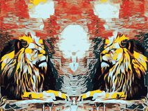 Sleepy lions. With red and black background Royalty Free Stock Images