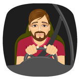 Sleepy male driver dozing off while driving Stock Image