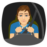 Sleepy male driver dozing off while driving Royalty Free Stock Images