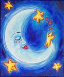 Sleepy moon. A beautiful and vibrant childrens painting of a sleeping moon surrounding by happy dancing stars Stock Photo