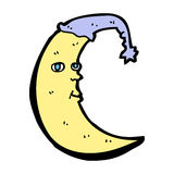 Sleepy moon cartoon Royalty Free Stock Photos