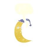 sleepy moon cartoon with speech bubble Stock Images