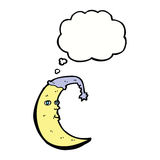 sleepy moon cartoon with thought bubble Stock Images