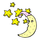 sleepy moon comic cartoon Royalty Free Stock Image